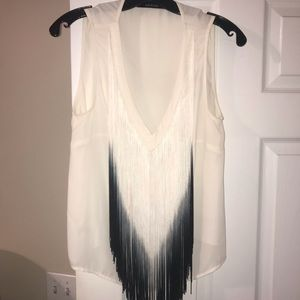 White v cut blouse with tassels